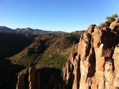 Rock Climbing Photo: Yup, Marcy, them's the power lines at Devil's nort...