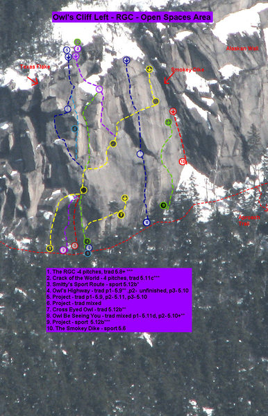 Owl's Cliff Left- RGC - Open Spaces Area<br> I have included this topo that has a number of projects on it so people will be able to see existing routes. Please be respectful of projects. Most likely a great deal of work has gone into cleaning and equipping them and yet the job is not completely finished. It also takes a fair amount of luck to get a confluence of conditions, no nesting ravens and willing partners to get the lead, so give the new routers a break. Do the established climbs, or find a line that is not being actively worked on. As they get done, I will update or note if they become open. If there is one you would like to work on, shoot me an email and I can find out the latest status. If they aren't completed soon, we certainly don't want to hog anything.- Thanks