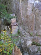 Rock Climbing Photo: Base of No More Mr Nice Guy 5.10a-b Base in line w...