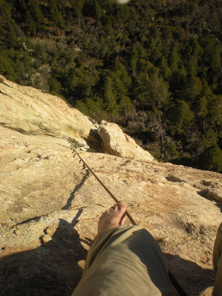 view from the top of the pitch-cindy is at the obituary column notch belay