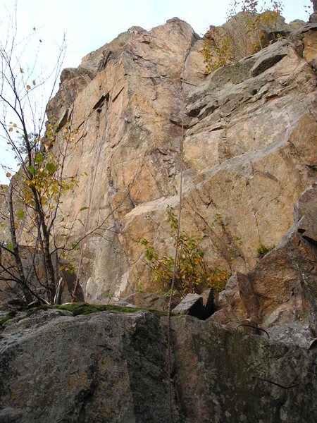 Rope on right side is slightly to the right of the 5.10 route.
