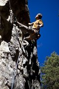 Rock Climbing Photo: Pulling down a steep limestone climb in Spearfish ...