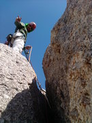 Rock Climbing Photo: Cory belays from the top of the 2nd off-width afte...