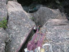 "Rock Climbing Photo: Olga Mirkina coming up the first pitch of ""Ow..."