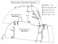 Rock Climbing Photo: Western Buttress topo
