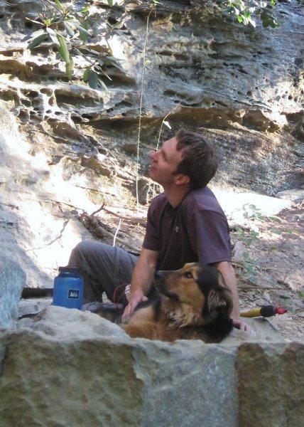 Rock Climbing Photo: Stan and Kona watching Eckhard climb at Red River ...