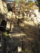 Rock Climbing Photo: Rough view of the top of the route.Dirty corner is...