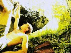Rock Climbing Photo: Seth Calkins climbing All Hands on Deck, V5, durin...
