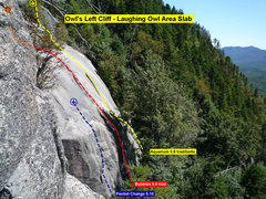 Rock Climbing Photo: Owl's Left Cliff - Laughing Owl Slab topo