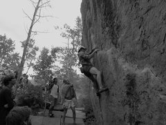 Rock Climbing Photo: Chris Lange on J-Crack, V5.