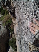 Rock Climbing Photo: Caressing the arete on the top section of The Phan...