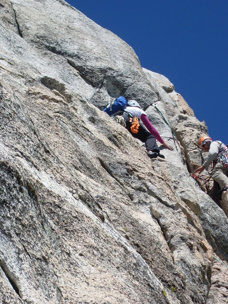Rock Climbing Photo: Protecting my girlfriend Ann as she steps around o...