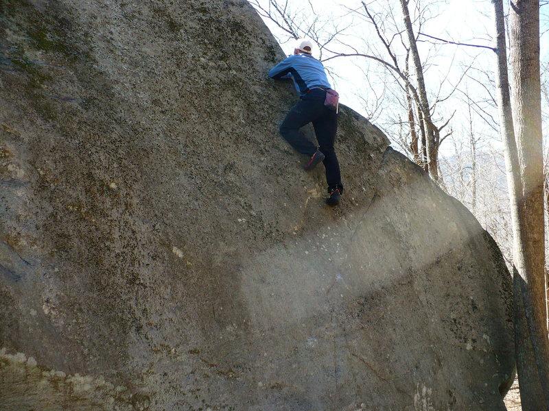 Rock Climbing Photo: Hull Breach V2, Rumbling Bald, NC
