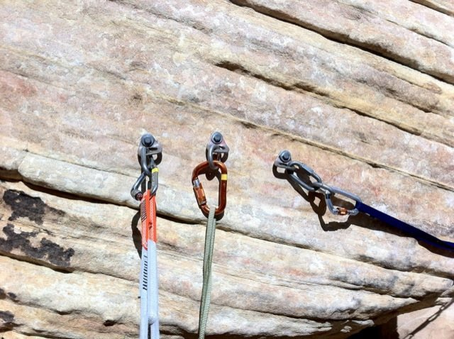 Rock Climbing Photo: First set of bolts / belay station.