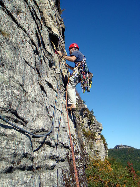 Leading the P2 traverse on a beautiful fall day.  Photo by Michael.