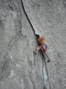 Rock Climbing Photo: Mike placing the number 6 on Rye Flake