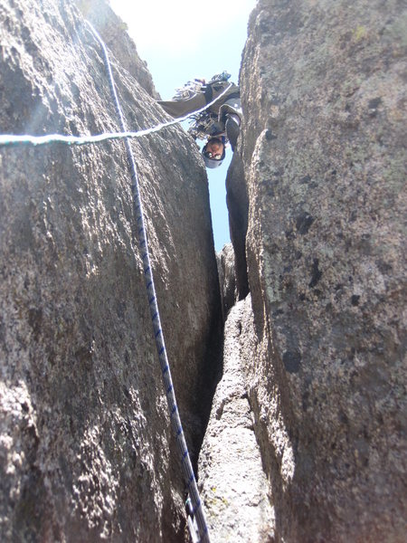 Looking up Pitch 2. Not as steep as it looks