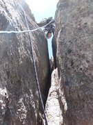 Rock Climbing Photo: Looking up Pitch 2. Not as steep as it looks