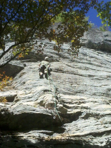 Down low on the face well below the seam, which is hidden straight up behind the tree.  Fantastic climb!  Probably the best pitch I've done at whitesides.