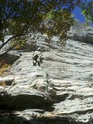 Rock Climbing Photo: Down low on the face well below the seam, which is...