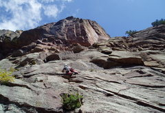 Rock Climbing Photo: Above the crux, moving right to the ceiling. Photo...