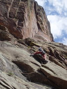 Rock Climbing Photo: Laybacking past the second roof is about 5.9. The ...
