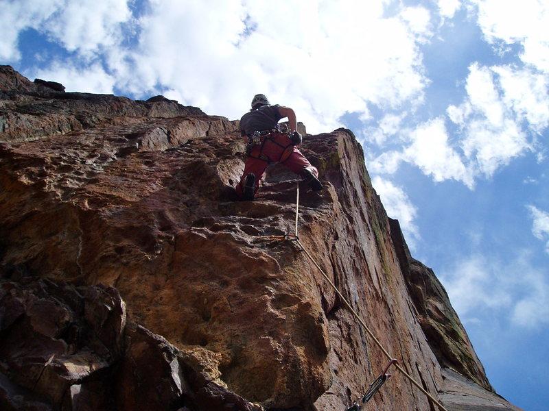 Rock Climbing Photo: At the second bolt.  Photo by Luke Clarke.