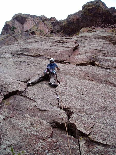 Rock Climbing Photo: Luke on the thin hands crack at the start.
