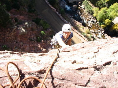 Stan Lanzano topping out on pitch 1.