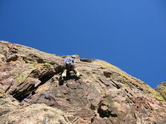Rock Climbing Photo: Stan Lanzano leading pitch 2.