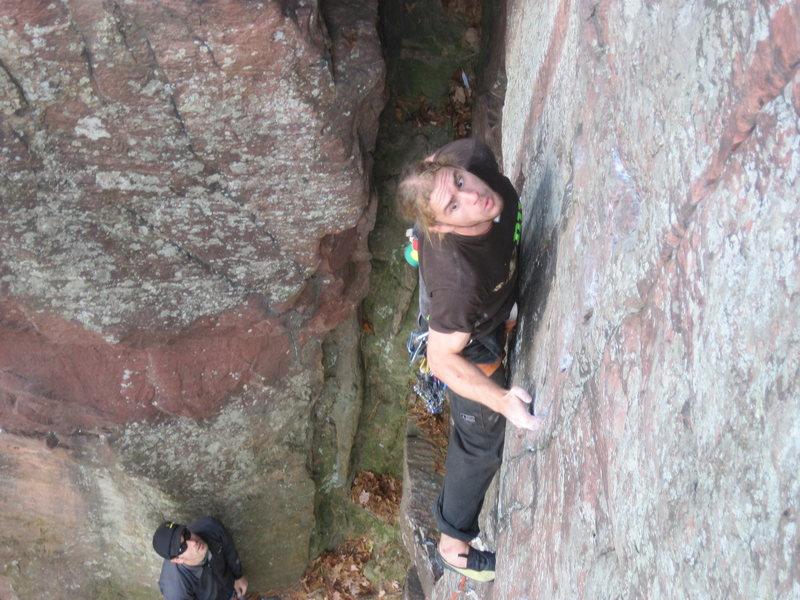 Rock Climbing Photo: Vinny, eying it up.