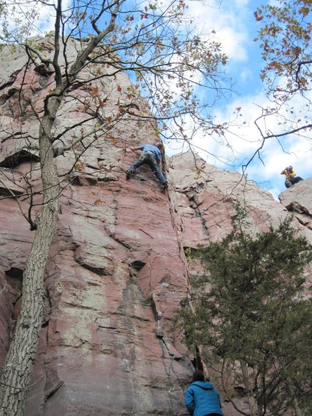 Rock Climbing Photo: 3rd lead of BD? Pete from SLC. Andrew Burr shootin...