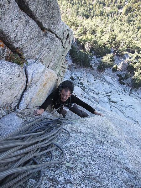 Rock Climbing Photo: Jascha approaching the third belay