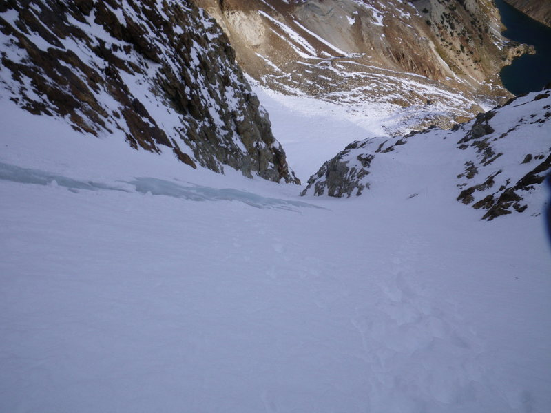 16-October-2010: a short bit of exposed blue ice in the main part of the couloir