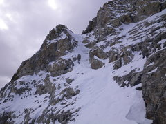 Rock Climbing Photo: 16-October-2010: couloir jogs left about 3/4 of th...
