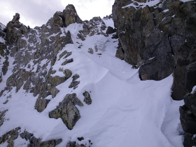 16-October-2010: second of three 'sub-chutes' in the top quarter of the couloir.  The top of the final chute is visible above the exit of this one.