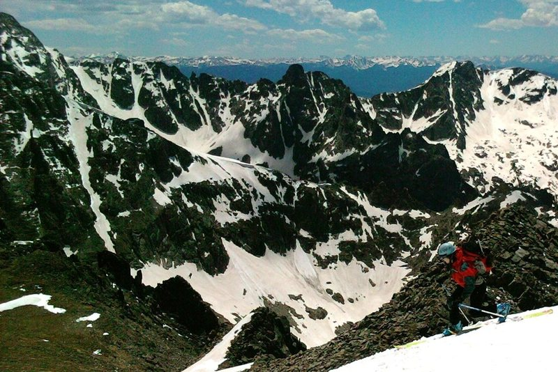 We hiked-down perhaps 50' off the summit, then dropped a knee. Great snow.