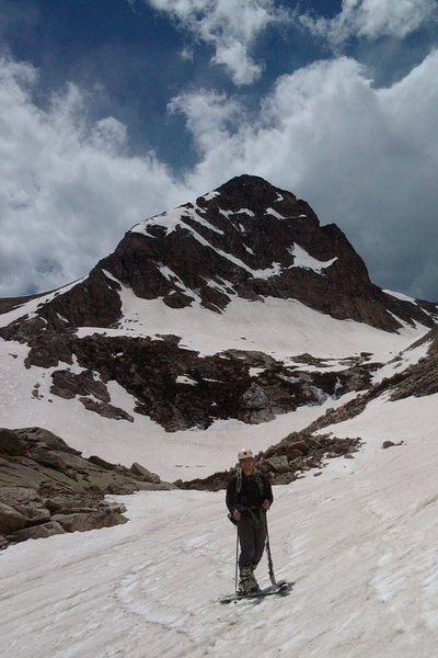 Mount Toll's (12,979') coned peak rises prominently above all others. (Skier tracks in the middle left of the photo.)