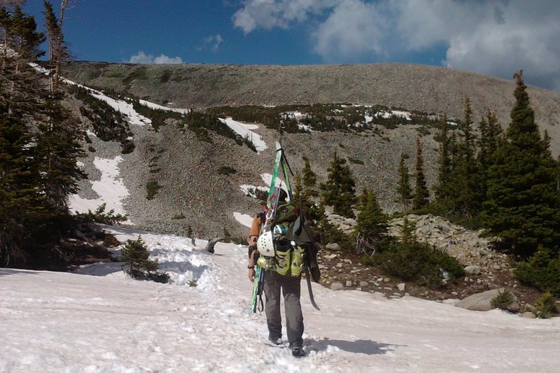 The snow was too soft (and was just dirt near the Brian Mitchell trailhead) that we had to hike-out (versus skinning).