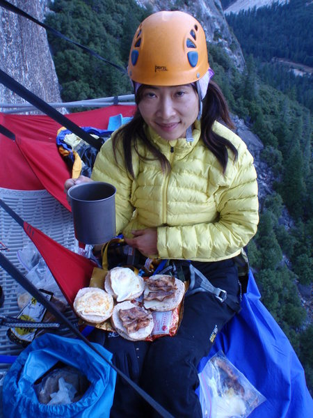 Rock Climbing Photo: Winnie is one hell of cook....bacon and eggs!!