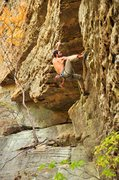 Rock Climbing Photo: Pulling over the roof above the flake and into the...
