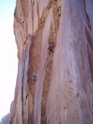 Rock Climbing Photo: Unknown French climbers topping out on Astro Lad. ...