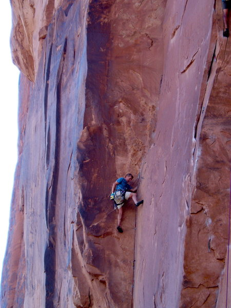 Rock Climbing Photo: Brian Delaney resting at the top of the laybacks p...