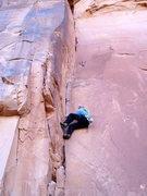 Rock Climbing Photo: Steve Arsenault begins the laybacks. It stays hard...