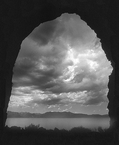 Looking out the Main Cave, 1987. Before the bolts.<br> Photo by Blitzo,