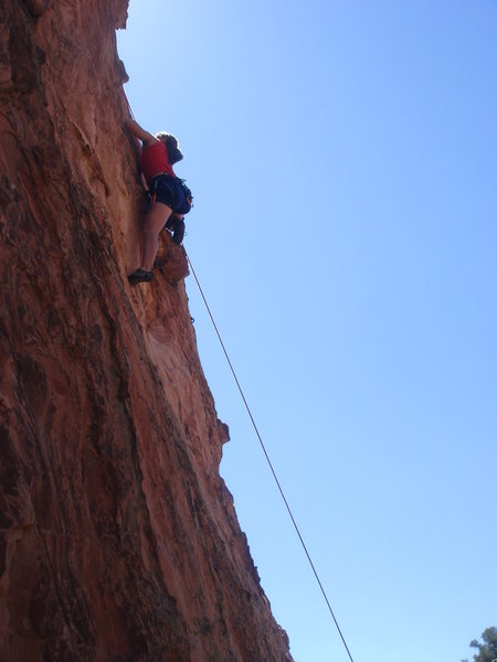 Rock Climbing Photo: Alex pulling onto the hollow flake of the unclaime...