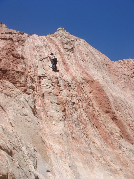 Kimberly climbing on the 4th anchor from the right.