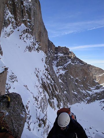 On Broadway on a attempt of a winter ascent of the Notch Couloir.