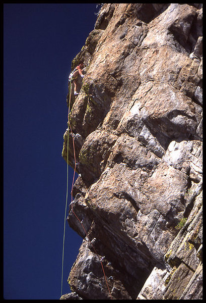 Jay Smith on an FA on the West Face,<br> Photo by Blitzo.
