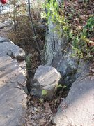 Rock Climbing Photo: This narrow cleft right on the W Bluff trail will ...